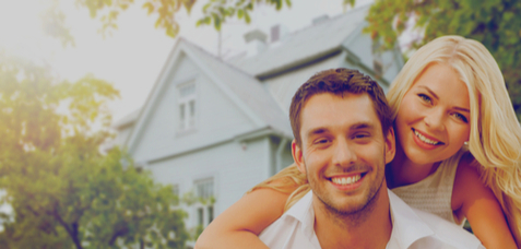 young couple with new mortgage loan small ad